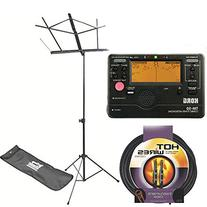 On Stage SM7122BB Folding Music Stand with Carrying Bag with Korg TM50BK Instrument Tuner & Metronome, + 10 ft Instrument Cable