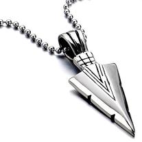 Stainless Steel Arrowhead Pendant Necklace Silver Polished