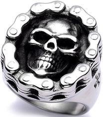 Men's Stainless Steel Big Skull Ring Bike High End Polished