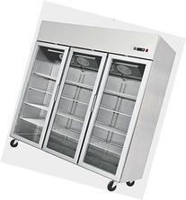 78 Inch Stainless Steel Freezer 3 Locking Glass Doors Reach