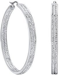 Women's Stainless Steel Large Hoop Earrings Rhinestone Gold