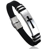 Jstyle Jewelry Men's Stainless Steel Religious Black Rubber