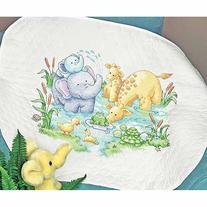 """Dimensions Stamped Cross-Stitch Quilt Kit, Little Pond, 34"""""""