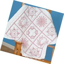 """Stamped White Wall Or Lap Quilt, 36"""" x 36"""", Sampler"""
