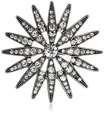 Women's Nina 'Jadira' Star Statement Pin - Silver/ Clear