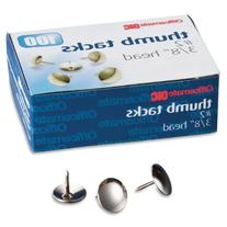 Officemate Steel Thumb Tacks, 3/8 Inch Head, Silver, Box of
