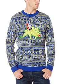 Alex Stevens Men's Stegosaurus Santa Ride Ugly Christmas