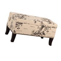 Linon Home Decor Stephanie Linen Ottoman, Multiple Patterns