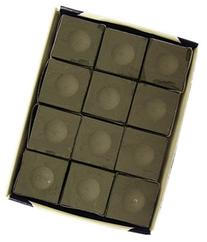 USA Made Silver Cup Pool Table Chalk in Charcoal - 12 Pc Set