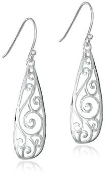 Sterling Silver Filigree Teardrop Earrings