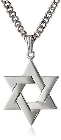 Men's Stainless Steel Necklace with Sterling Silver Star of