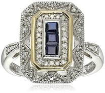 Sterling Silver and 14k Yellow Gold Blue Sapphire and