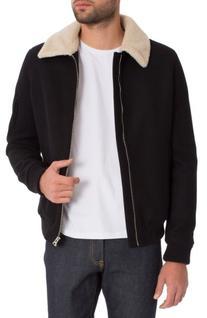 Men's 7 Diamonds Stewart Faux Fur Collar Wool Blend Jacket,