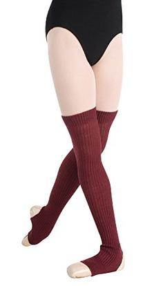 "Body Wrapper Women's 27"" Stirrup Legwarmers O/S BURGUNDY"