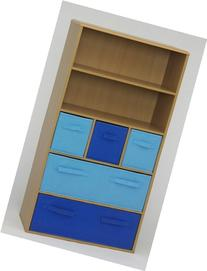 Kid's Storage Bookcase with Blue Canvas Drawers