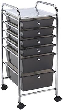 Alvin Blue Hills Storage Cart with Smoke Colored Drawers