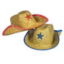 Kids Straw Cowboy Sheriff Hat w/Star