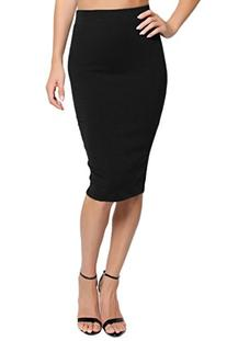 TheMogan Women's Stretch Cotton Elastic Waist Pencil Skirt-