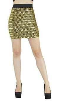 D&K Monarchy Fashion Stretch Sequin Tube Skirt Large Gold