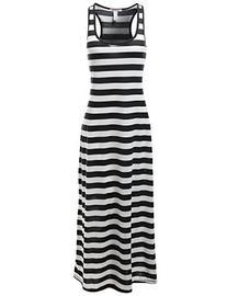 Stripe Sleeveless Tank Racerback Long Maxi Dresses White