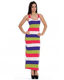 Enimay Women's Multicolor Stripe Summer Long Dress Scoop