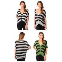 Stanzino Women's Striped Button Down V-neck Cardigan Top