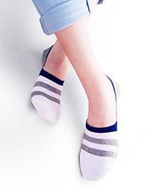 Vero Monte 6 Pairs Womens Striped Cotton No Show Liner Socks
