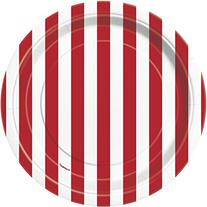 Red Striped Paper Cake Plates, 8ct