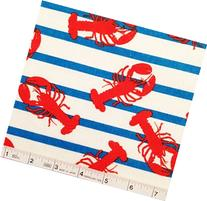 1/2 Yard - Nautical Red Lobsters on Blue Striped Flannel