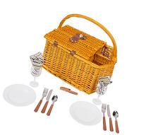 """17"""" Striped Lined Wicker Picnic Basket with Wineholder by"""
