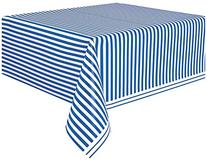 "Striped Plastic Tablecloth, 108"" x 54"", Royal Blue"
