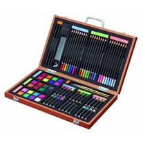 Nicole Studio Art Craft Supplies Set in Wood Box for Drawing