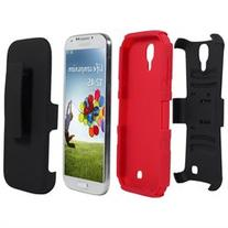Fosmon STURDY Shell Holster Combo Case with Belt Clip & Stand for Samsung Galaxy S4 i9500 - Red