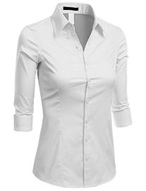 Doublju Solid 3/4 Sleeve Cotton Button Down Collared Shirt
