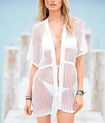 MG Collection Stylish White Crocheted Swimsuit Cover Up