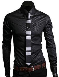 Silkworld Men's Stylish Slim Fit Long Sleeve Dress Shirt US