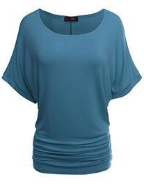 Doublju Women Stylish Solid Color Dolman Sleeve Top ASHBLUE,