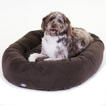 52 inch Chocolate Suede Bagel Dog Bed By Majestic Pet