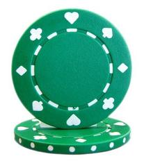 Brybelly Suited Poker Chips , Green, 11.5gm