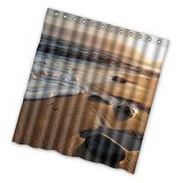 Sunset Beach Waves Bathroom Fabric Shower Curtain 66X72 With