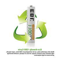 EBL 1100mAh Super Capacity AAA Rechargeable Batteries, 4