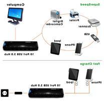 LB1 High Performance New SuperSpeed USB 3.0 10-Port Hub