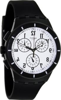 Swatch SUSB401 twice again black white dial rubber strap