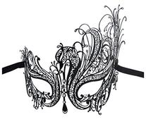 Luxury Mask Women's Swan Metal Filigree Laser Cut Masquerade