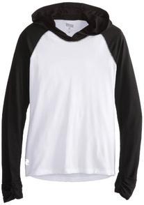 Soffe Women's Jrs No Sweat Colorblock Hood, WHITE/BLACK, S