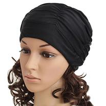 Eforstore Swimming Caps Long Hair Swim Cap Pleated Cloth