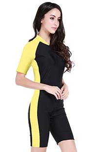 Swimsuit for Women one Piece  Yellow Black-Women Asian M =