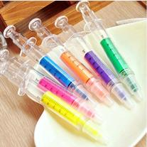 6pc per Lot Pack Syringe Highlighter Pens with 6 Colors