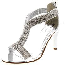 Womens T-Bar Bride Diamante Party Metallic Wedding Silver