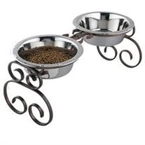 Tall Classic Wrought Iron Dog Feeder - Color: Black